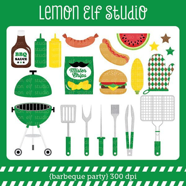 Barbeque Party Green Digital Clipart  Lemon Elf Studio    Mygrafico