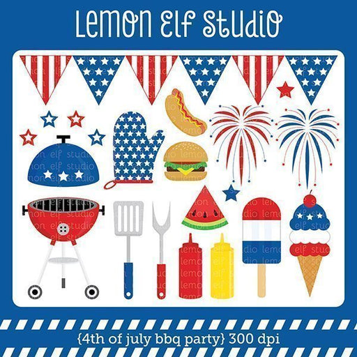 4th of July Bbq Party Digital Clipart Clipart Lemon Elf Studio    Mygrafico