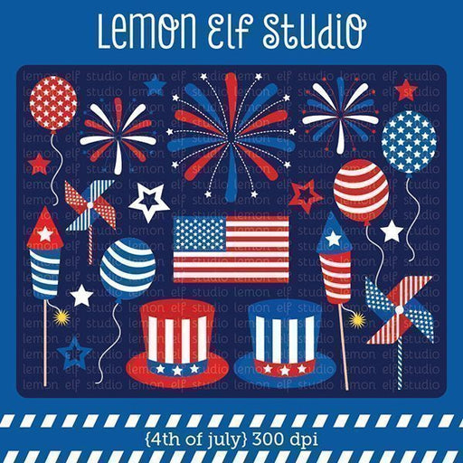 4th of July Digital Clipart Clipart Lemon Elf Studio    Mygrafico