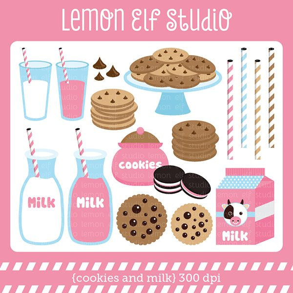 Cookies and Milk Pink Digital Clipart  Lemon Elf Studio    Mygrafico