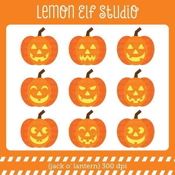 Jack O' Lantern Digital Clipart  Lemon Elf Studio    Mygrafico