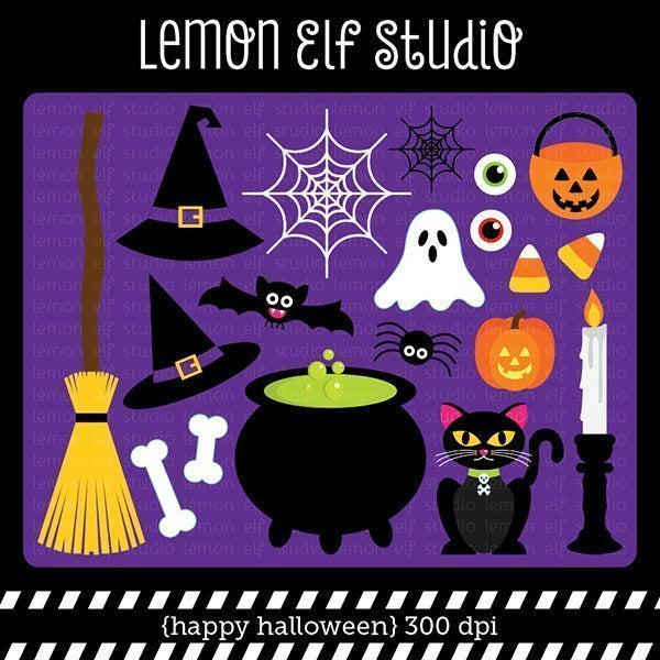 Happy Halloween Digital Clipart  Lemon Elf Studio    Mygrafico