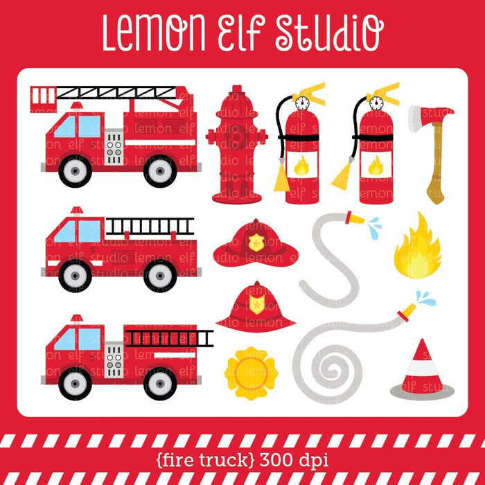Fire Truck Digital Clipart  Lemon Elf Studio    Mygrafico