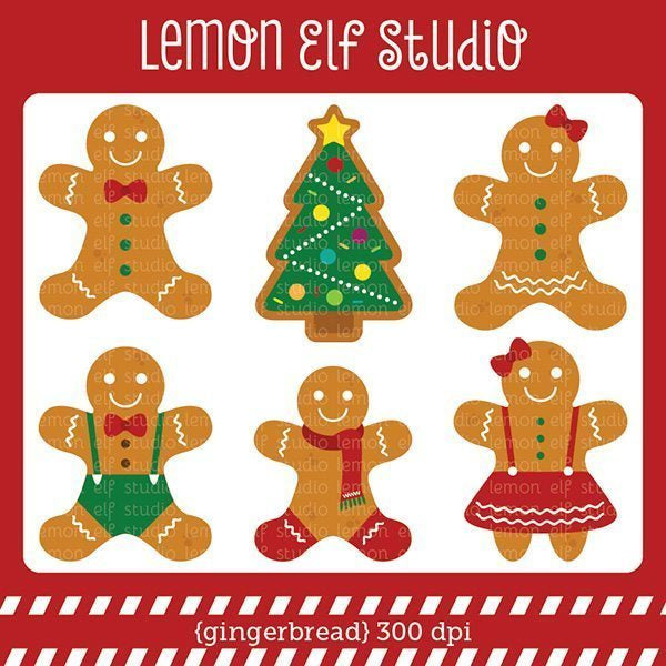 Gingerbread Digital Clipart  Lemon Elf Studio    Mygrafico