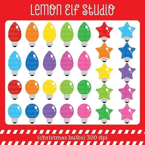 Christmas Bulbs Digital Clipart  Lemon Elf Studio    Mygrafico