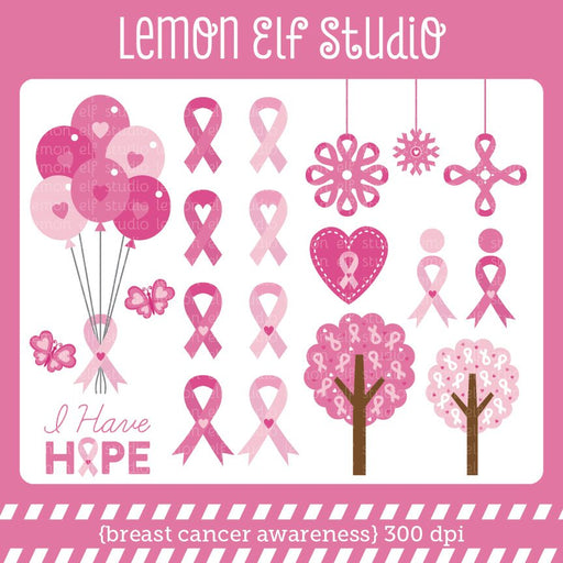 Breast Cancer Awareness Digital Clipart  Lemon Elf Studio    Mygrafico
