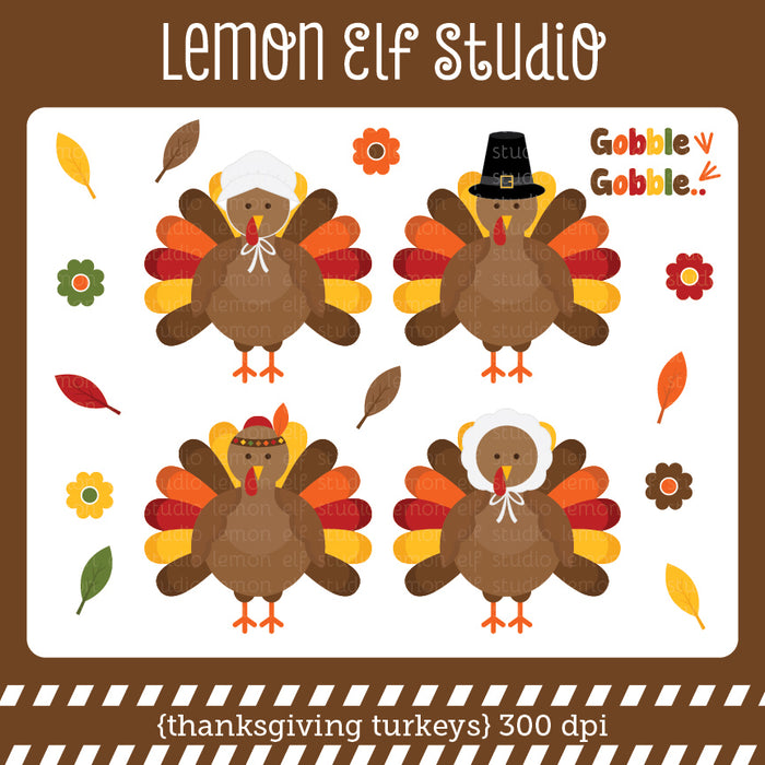 Thanksgiving Turkeys Digital Clipart  Lemon Elf Studio    Mygrafico