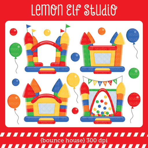 Bounce House Red Digital Clipart  Lemon Elf Studio    Mygrafico