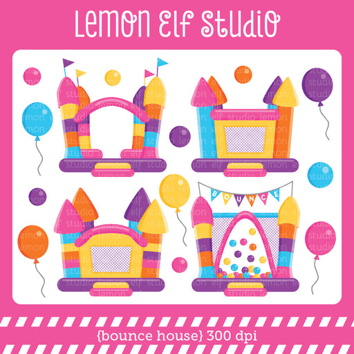 Bounce House Pink Digital Clipart  Lemon Elf Studio    Mygrafico