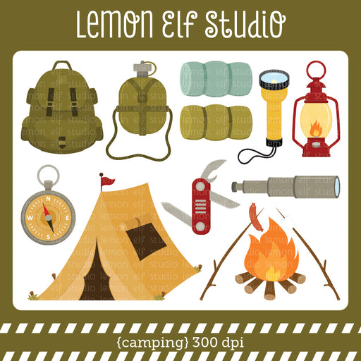 Camping Green Digital Clipart  Lemon Elf Studio    Mygrafico