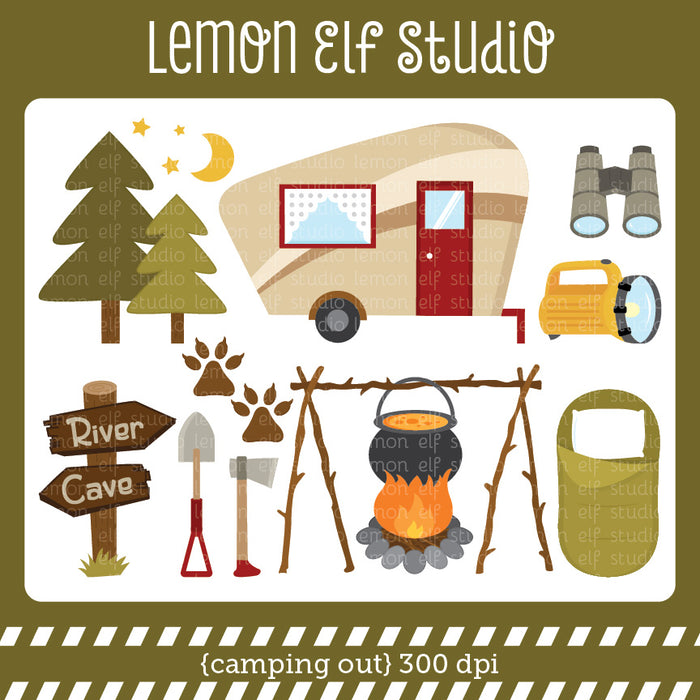 Camping Out Digital Clipart  Lemon Elf Studio    Mygrafico