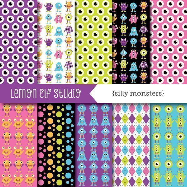 Silly Monsters Girl Digital Paper  Lemon Elf Studio    Mygrafico