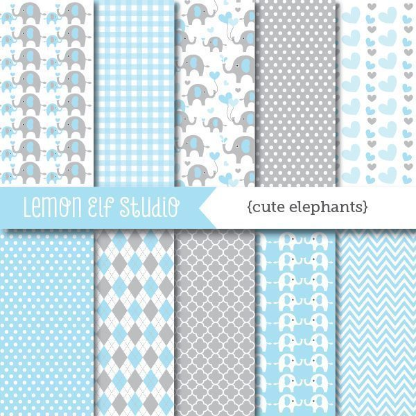 Cute Elephants Blue Digital Paper  Lemon Elf Studio    Mygrafico