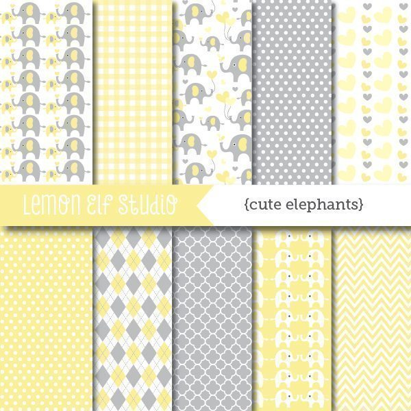 Cute Elephants Yellow Digital Paper  Lemon Elf Studio    Mygrafico