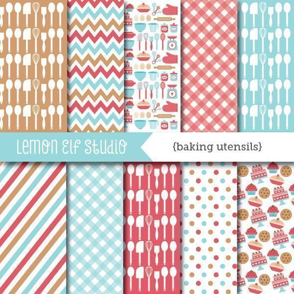 Baking Utensils Digital Paper  Lemon Elf Studio    Mygrafico