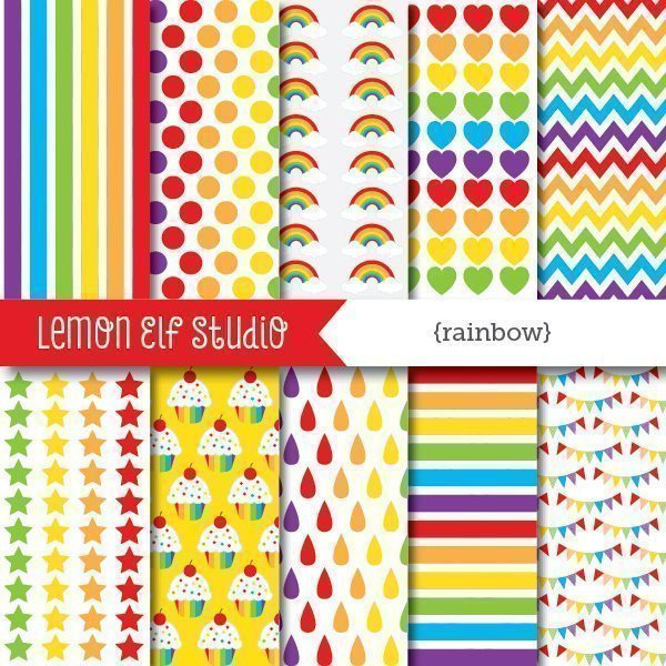 Rainbow Boy Digital Paper  Lemon Elf Studio    Mygrafico