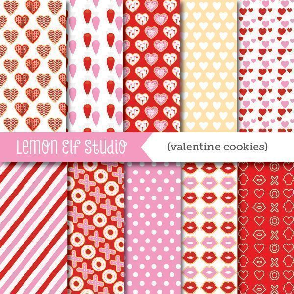 Valentine Cookies Digital Paper  Lemon Elf Studio    Mygrafico