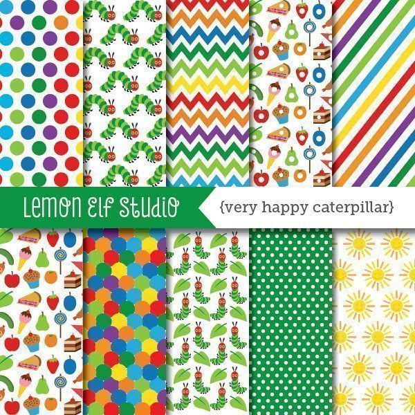 Very Happy Caterpillar Digital Paper  Lemon Elf Studio    Mygrafico