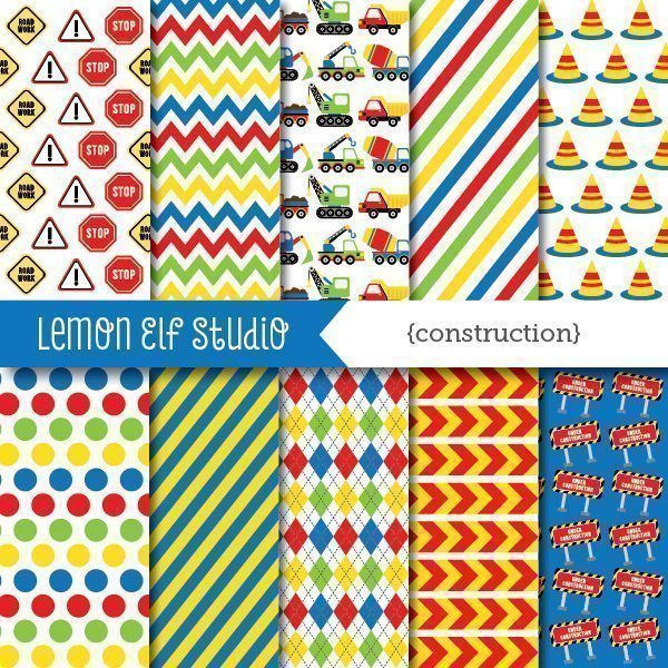 Construction Blue Digital Paper  Lemon Elf Studio    Mygrafico