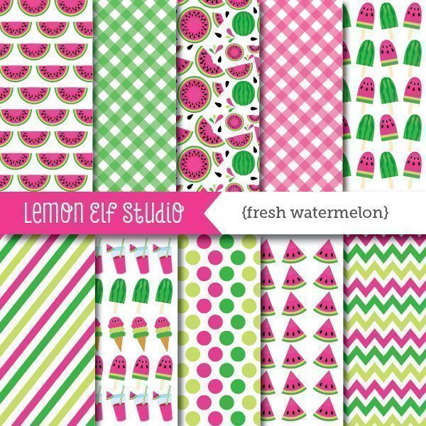 Fresh Watermelon Pink Digital Paper  Lemon Elf Studio    Mygrafico