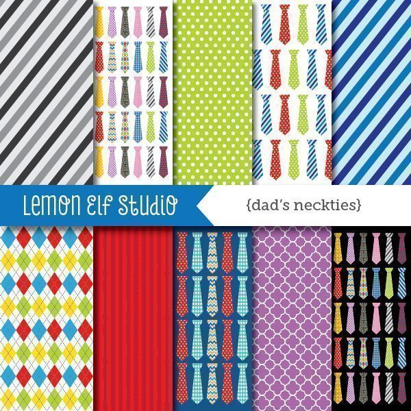 Dad's Neckties Digital Paper  Lemon Elf Studio    Mygrafico
