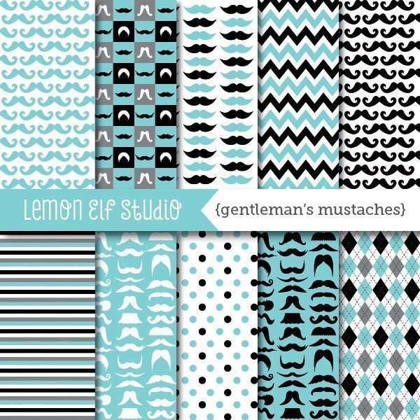 Gentleman's Mustaches Digital Paper  Lemon Elf Studio    Mygrafico