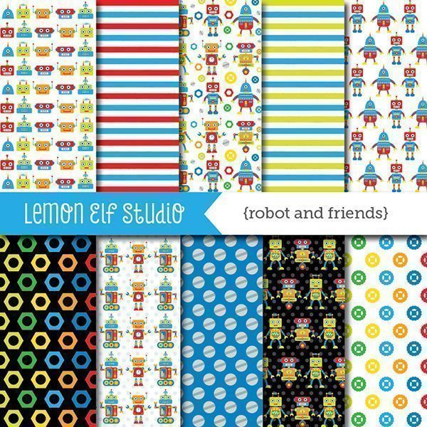 Robot and Friends Red Digital Paper  Lemon Elf Studio    Mygrafico