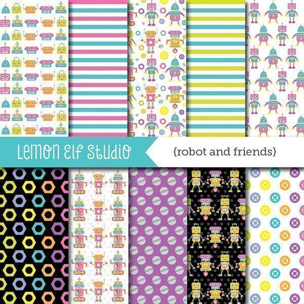 Robot and Friends Pink Digital Paper  Lemon Elf Studio    Mygrafico