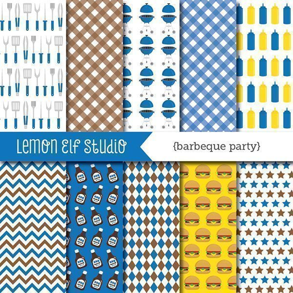Barbeque Party Blue Digital Paper  Lemon Elf Studio    Mygrafico