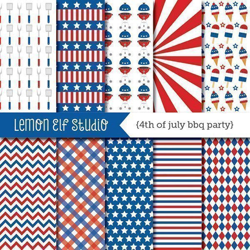 4th of July Bbq Party Digital Paper Digital Papers & Background Lemon Elf Studio    Mygrafico