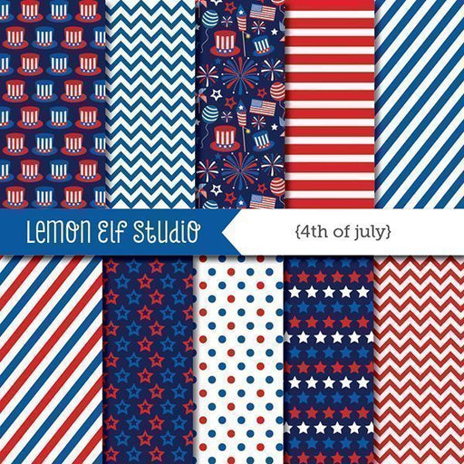 4th of July Digital Paper  Lemon Elf Studio    Mygrafico
