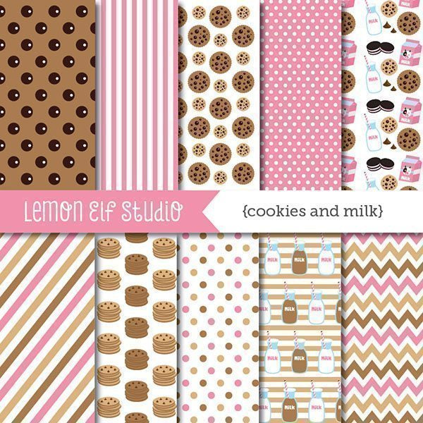 Cookies and Milk Pink Digital Paper  Lemon Elf Studio    Mygrafico