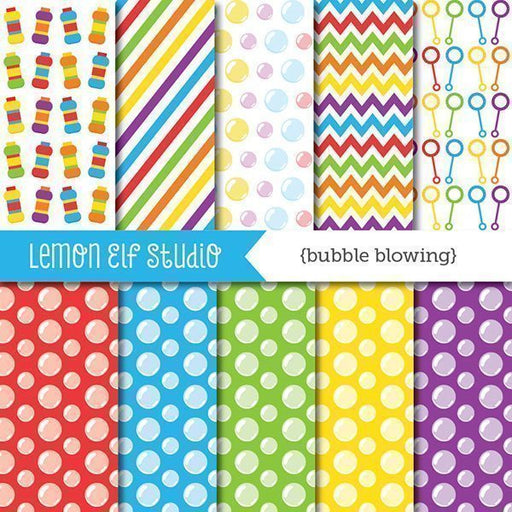 Bubble Blowing Red Digital Paper  Lemon Elf Studio    Mygrafico