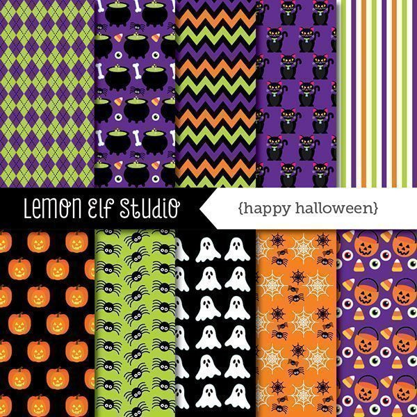 Happy Halloween Digital Paper  Lemon Elf Studio    Mygrafico