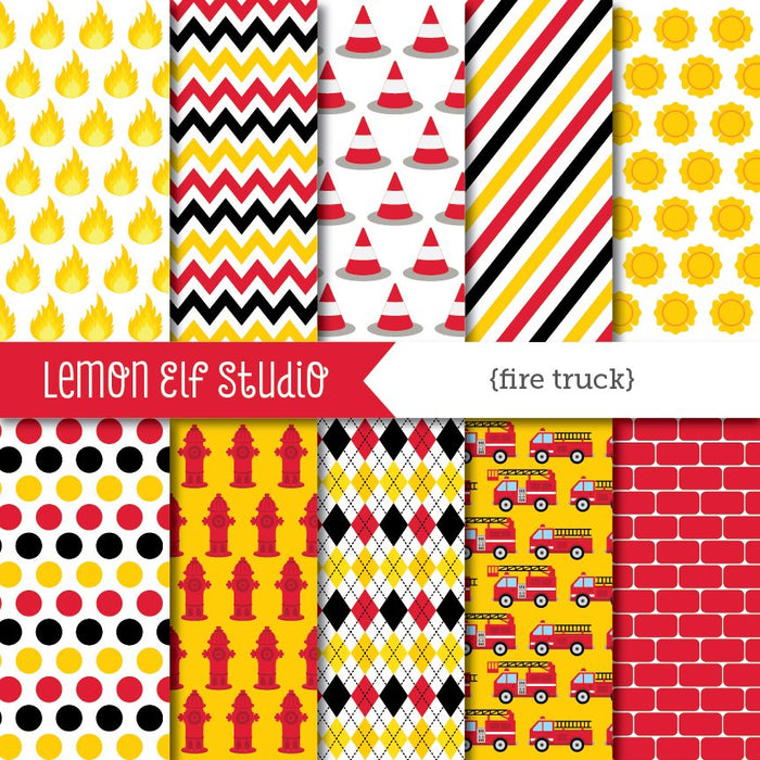 Fire Truck-Digital Paper  Lemon Elf Studio    Mygrafico