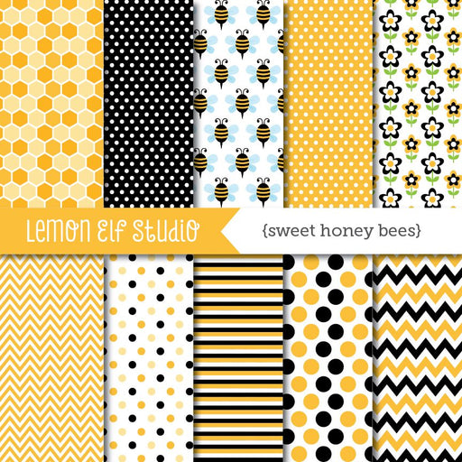 Sweet Honey Bees-Digital Paper  Lemon Elf Studio    Mygrafico