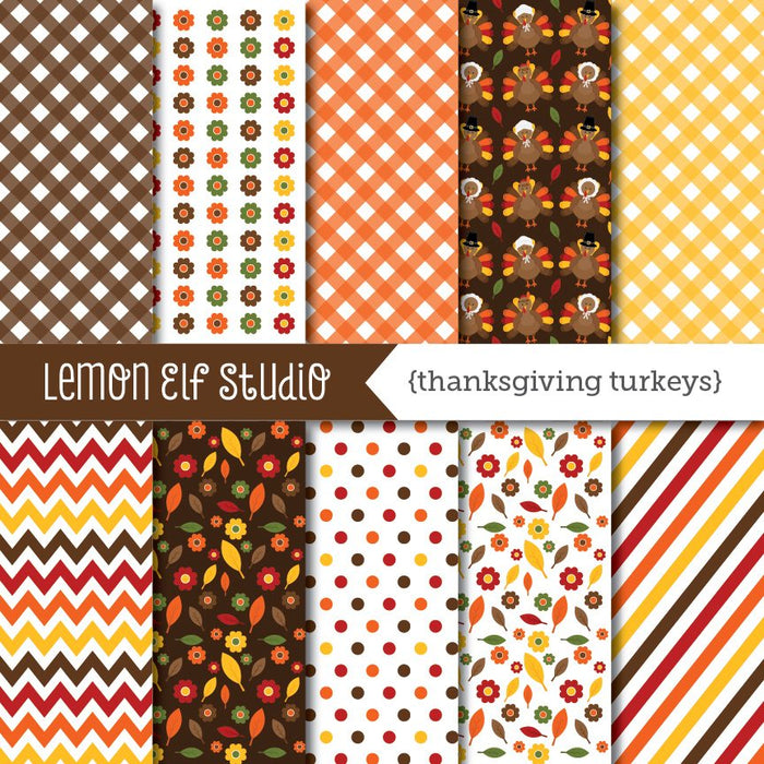 Thanksgiving Turkeys Digital Paper  Lemon Elf Studio    Mygrafico