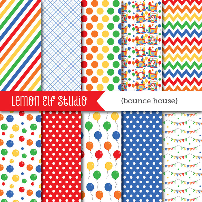 Bounce House Red Digital Paper  Lemon Elf Studio    Mygrafico