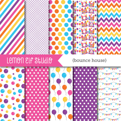 Bounce House Pink Digital Paper  Lemon Elf Studio    Mygrafico
