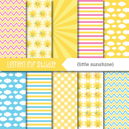 Little Sunshine Digital Paper  Lemon Elf Studio    Mygrafico