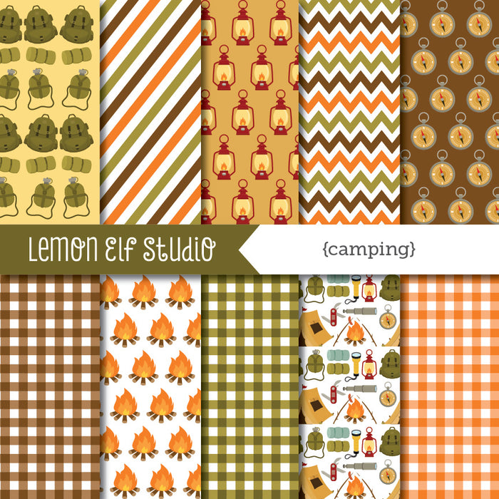 Camping Green Digital Paper  Lemon Elf Studio    Mygrafico