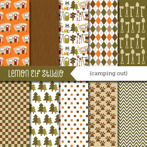 Camping Out Digital Paper  Lemon Elf Studio    Mygrafico