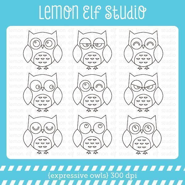 Expressive Owls Digital Stamp  Lemon Elf Studio    Mygrafico