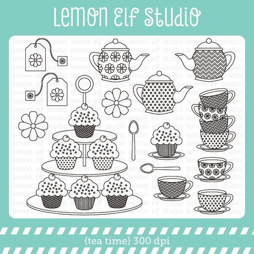 Tea Time Digital Stamp  Lemon Elf Studio    Mygrafico