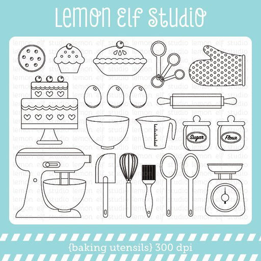 Baking Utensils Digital Stamp  Lemon Elf Studio    Mygrafico