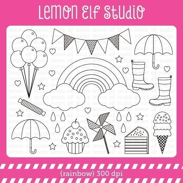 Rainbow Digital Stamp  Lemon Elf Studio    Mygrafico