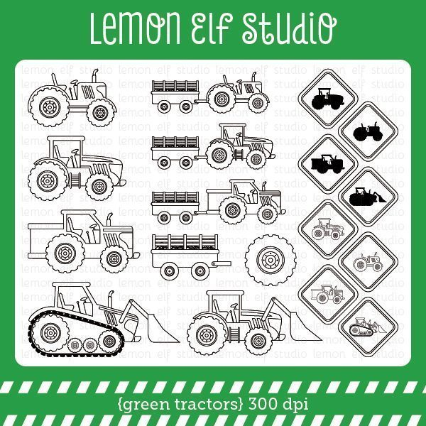 Green Tractors Digital Stamp  Lemon Elf Studio    Mygrafico