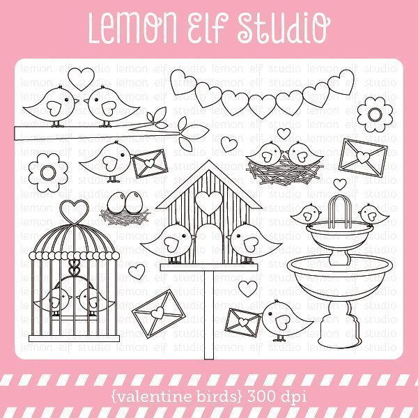 Valentine Birds Digital Stamp  Lemon Elf Studio    Mygrafico