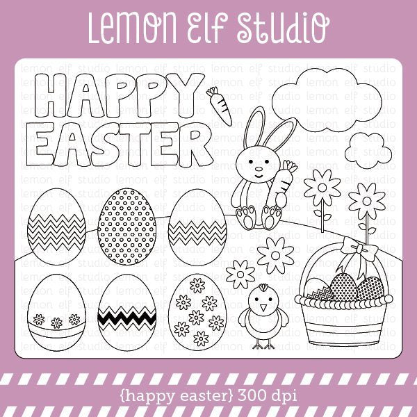 Happy Easter Digital Stamp  Lemon Elf Studio    Mygrafico