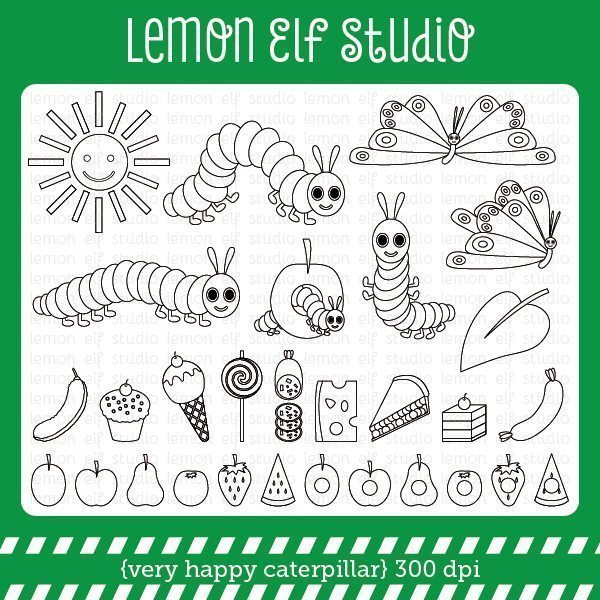 Very Happy Caterpillar Digital Stamp  Lemon Elf Studio    Mygrafico